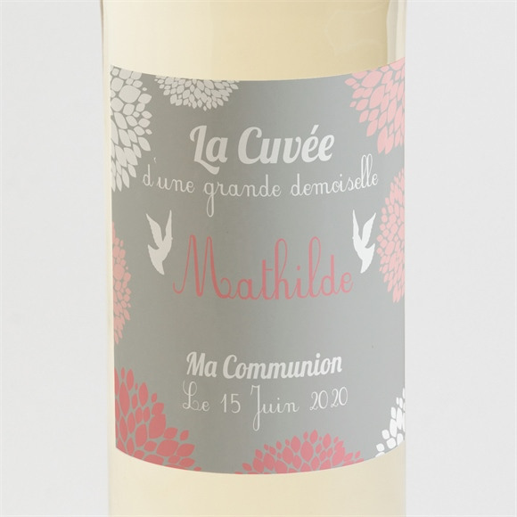 Etiquette de bouteille communion Colombe et fleurs réf.N300517