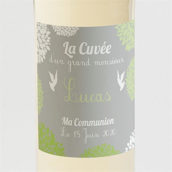 Etiquette de bouteille communion Cadre gris et lumière réf.N300518