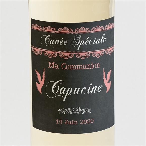 Etiquette de bouteille communion Dentelle Rose réf.N300522