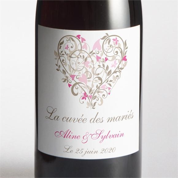 Etiquette de bouteille mariage Coeur arabesque réf.N300542