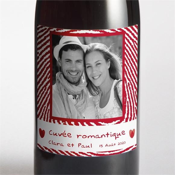 Etiquette de bouteille mariage Faire part Rouge et blanc réf.N300543
