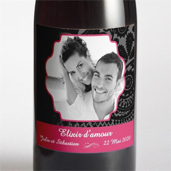 Etiquette de bouteille mariage Cachemire noir et gris réf.N300546