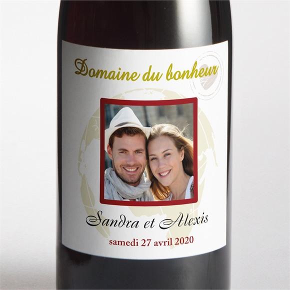 Etiquette de bouteille mariage Passeport de l'Amour réf.N300547