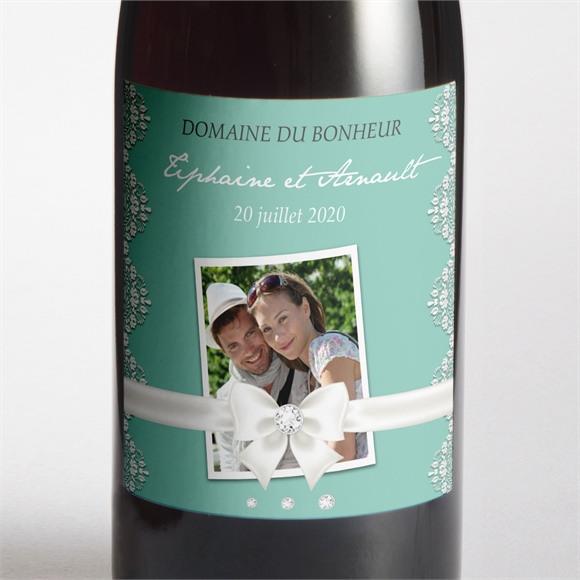 Etiquette de bouteille mariage Strass et paillettes réf.N300559