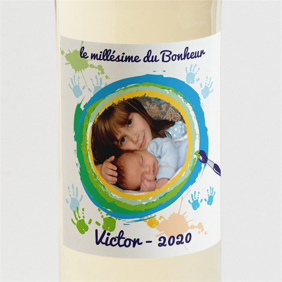 Etiquette de bouteille naissance Carte naissance photo souvenir réf.N300572