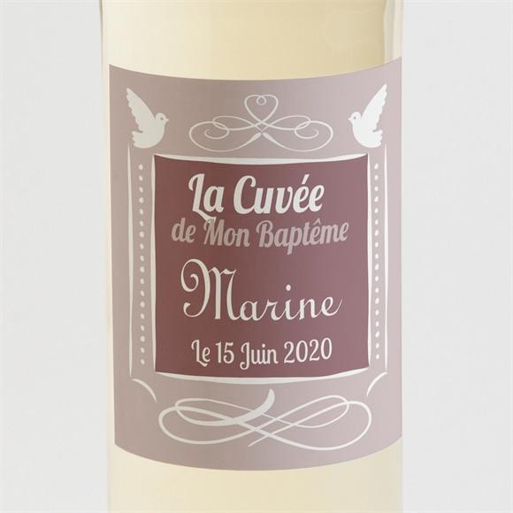 Etiquette de bouteille baptême Petit damier violet réf.N300575
