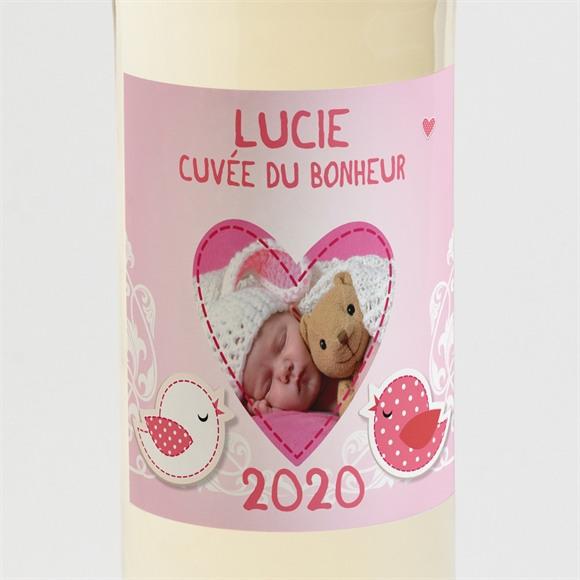 Etiquette de bouteille naissance Annonce avec un gros coeur ! réf.N300577