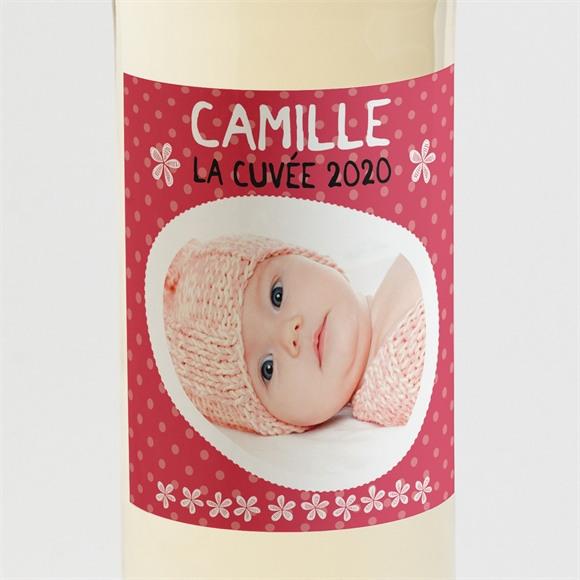 Etiquette de bouteille naissance Médaillon fleuri réf.N300580