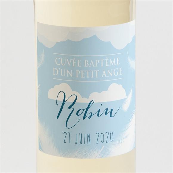 Etiquette de bouteille baptême Duvet tout en rondeur réf.N300579