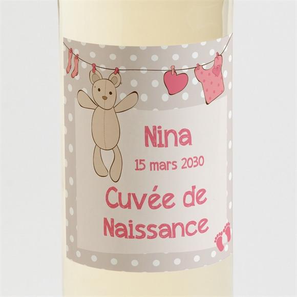 Etiquette de bouteille naissance Fil à linge illustré réf.N300593