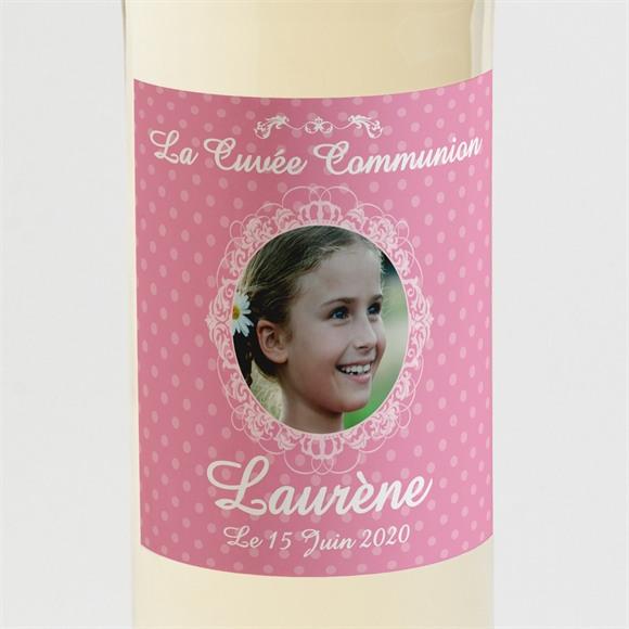 Etiquette de bouteille communion Mon cadre rose réf.N300596