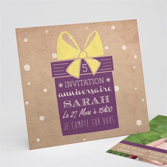 Invitation anniversaire Cadeau Kraft réf.N311144