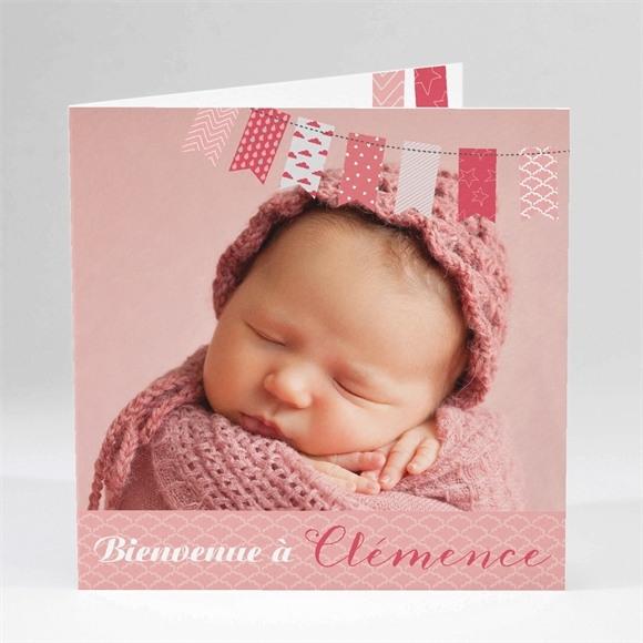 Faire-part naissance Petits fanions roses et blanc réf.N45103