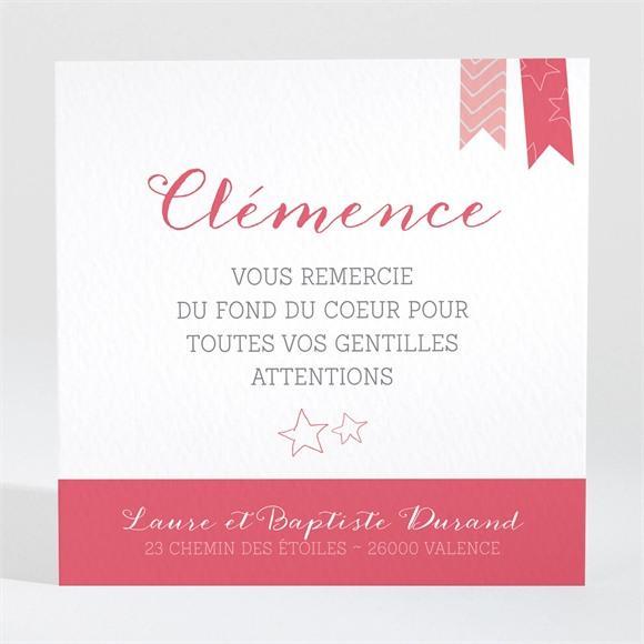 Remerciement naissance Petits fanions roses et blanc réf.N300616