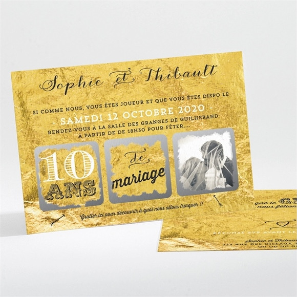 Invitation anniversaire de mariage A la feuille d'Or réf.N11160