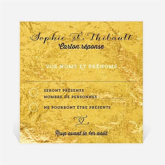 Carton réponse anniversaire de mariage A la feuille d'Or réf.N300623