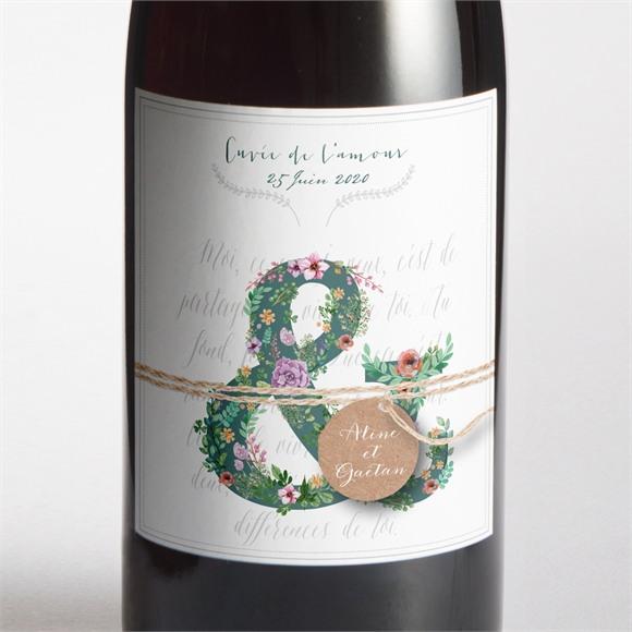 Etiquette de bouteille mariage Champêtre et original réf.N300627
