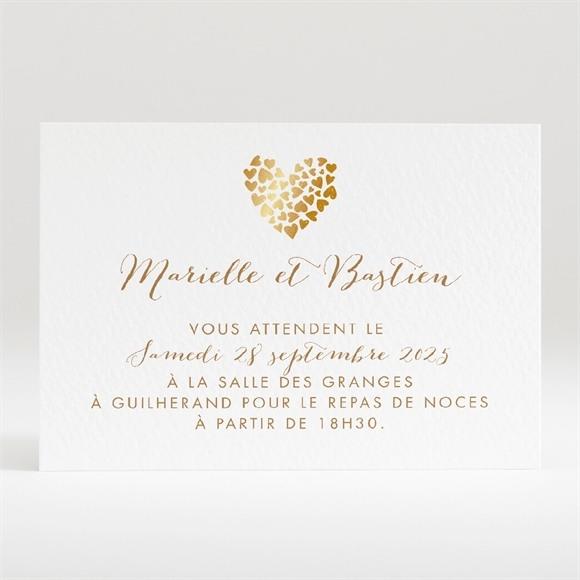 Carton d'invitation mariage Coeur doré réf.N120310
