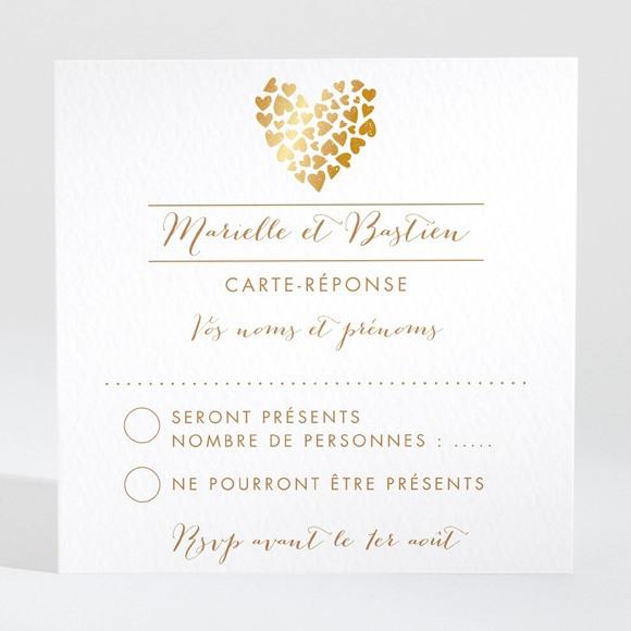 Carton réponse mariage Coeur doré réf.N300634