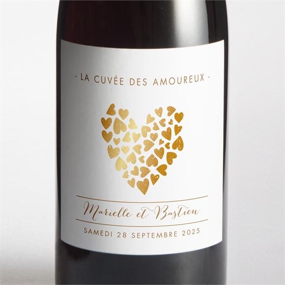 Etiquette de bouteille mariage Coeur doré réf.N300635