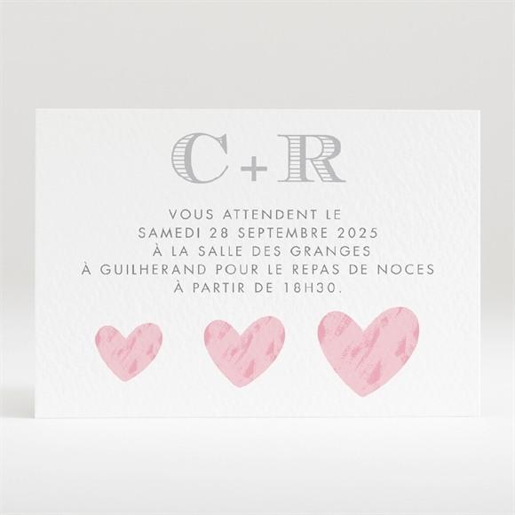 Carton d'invitation mariage Coeur et initiales réf.N120311