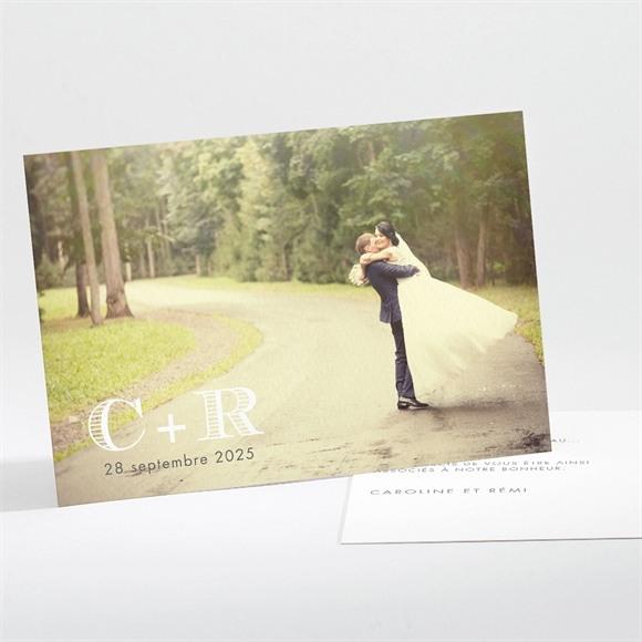 Remerciement mariage Coeur et initiales réf.N11162
