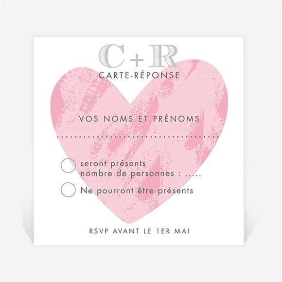 Carton réponse mariage Coeur et initiales réf.N300636