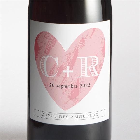 Etiquette de bouteille mariage Coeur et initiales réf.N300637