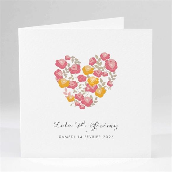Faire-part mariage Un Coeur en fleurs réf.N45116
