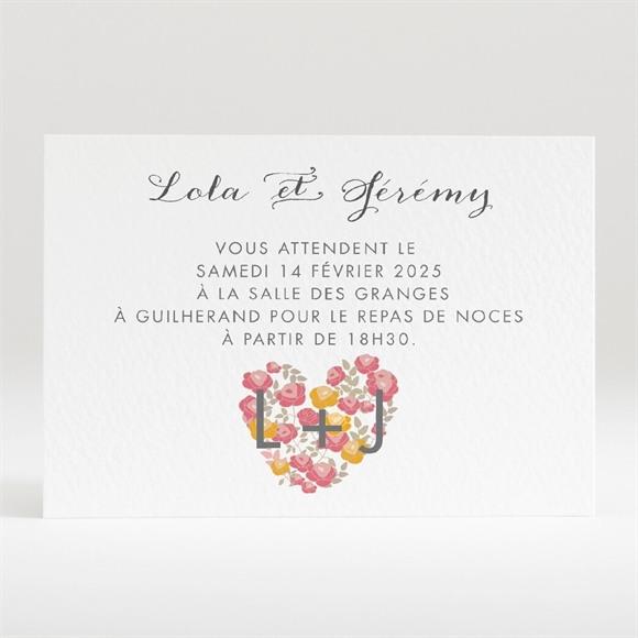 Carton d'invitation mariage Un Coeur en fleurs réf.N120314
