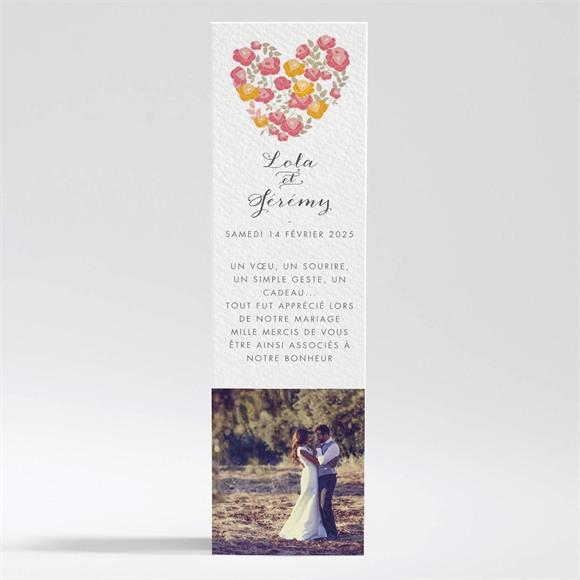 Remerciement mariage Un Coeur en fleurs réf.N200328