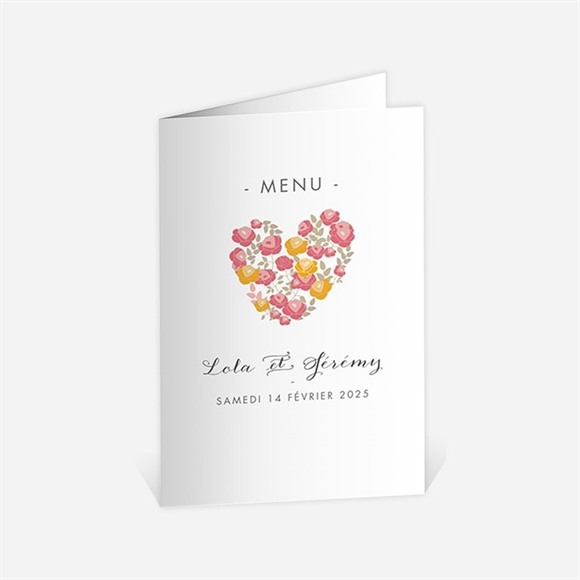 Menu mariage Un Coeur en fleurs réf.N401531