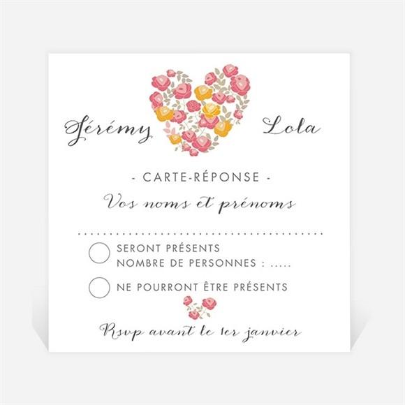Carton réponse mariage Un Coeur en fleurs réf.N300642