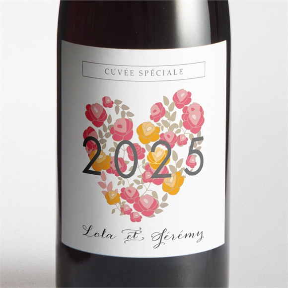 Etiquette de bouteille mariage Un Coeur en fleurs réf.N300643
