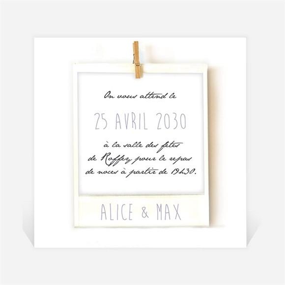 Carton d'invitation mariage Photo polaroid réf.N300656