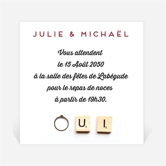 Carton d'invitation mariage Jeux vintage réf.N300662
