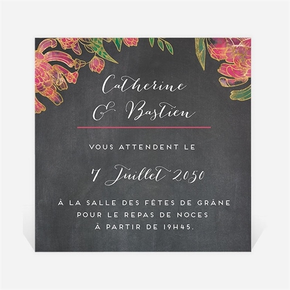 Carton d'invitation mariage Ardoise romantique réf.N300665