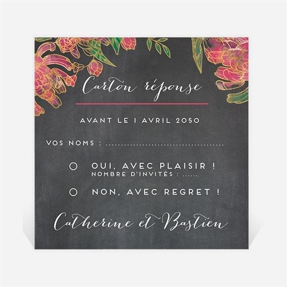Carton réponse mariage Ardoise romantique réf.N300666