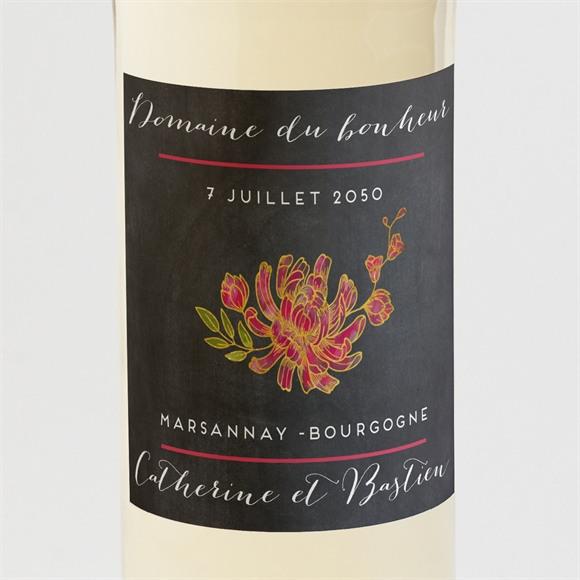 Etiquette de bouteille mariage Ardoise romantique réf.N300667