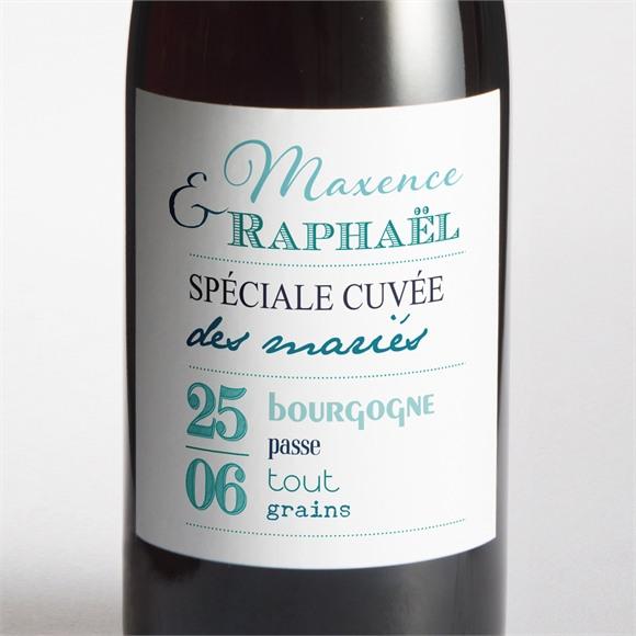 Etiquette de bouteille mariage Jeu de typographies réf.N300676