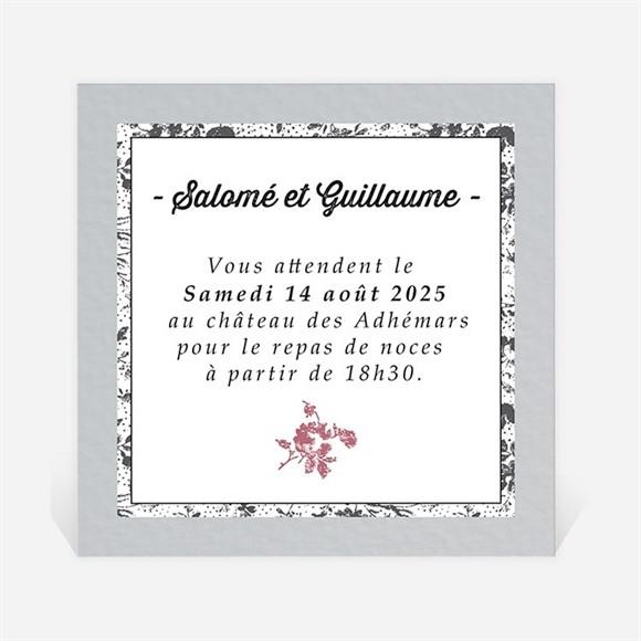 Carton d'invitation mariage Gris et violet photo réf.N300689