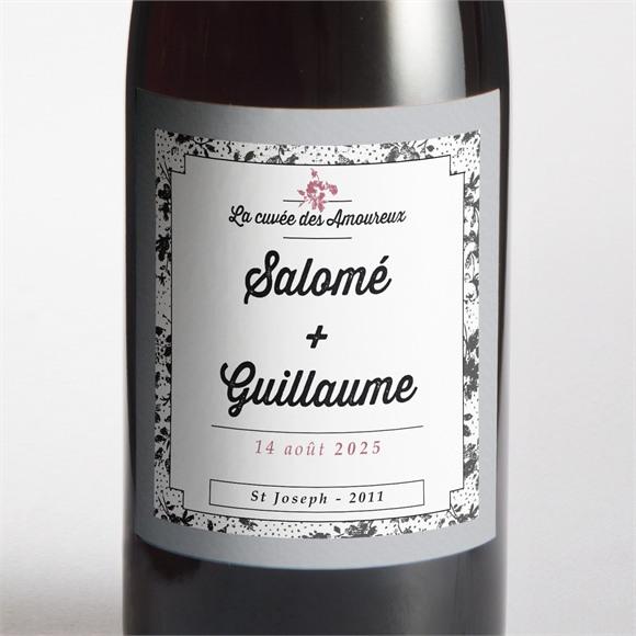 Etiquette de bouteille mariage Gris et violet photo réf.N300691