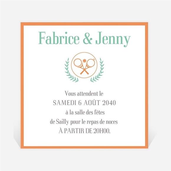 Carton d'invitation mariage Note partie de Tennis réf.N300698