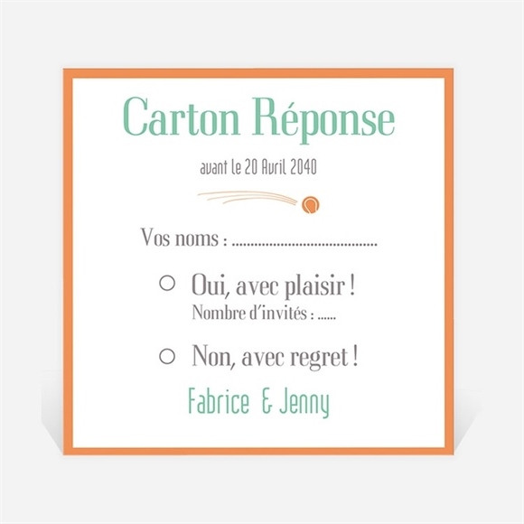 Carton réponse mariage Note partie de Tennis réf.N300699