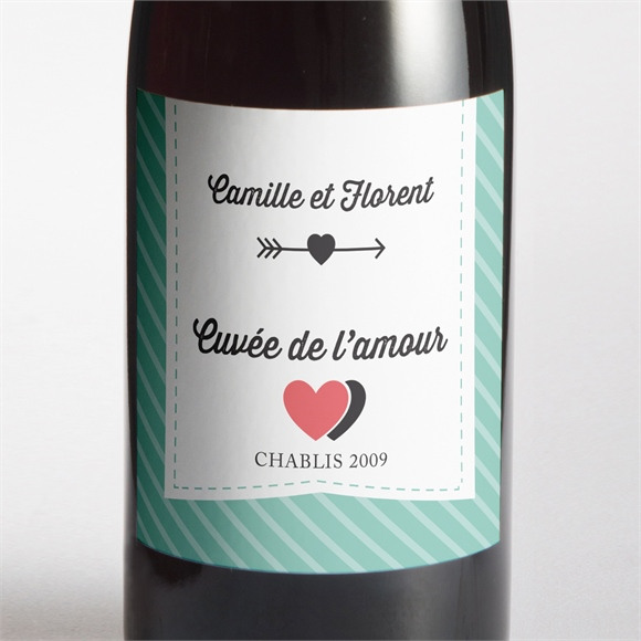Etiquette de bouteille mariage Coeurs roses photo réf.N300706