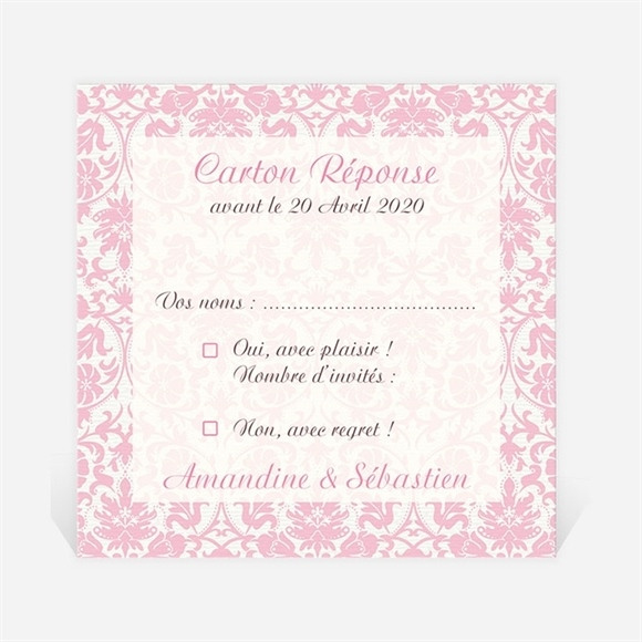 Carton réponse mariage Motifs baroques réf.N300711