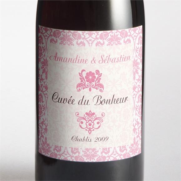 Etiquette de bouteille mariage Motifs baroques réf.N300712