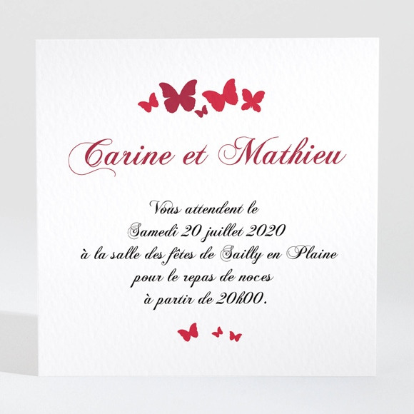 Carton d'invitation mariage Papillons en coeur réf.N300713