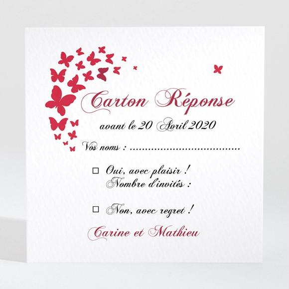 Carton réponse mariage Papillons en coeur réf.N300714