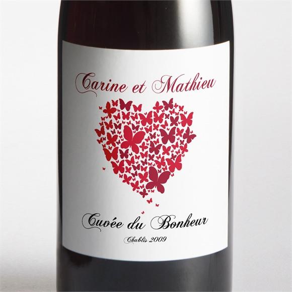 Etiquette de bouteille mariage Papillons en coeur réf.N300715